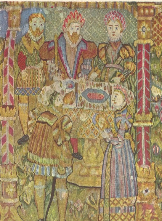 Detail of tapestry depicting the story of John the Baptist, Norway, latter half of the 16th century.  Zorn Collections, Mora, Sweden