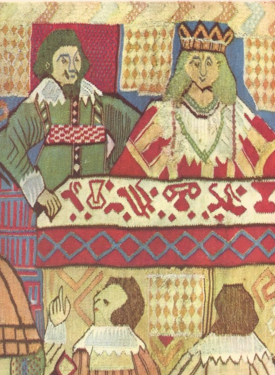 Detail of tapestry depicting the Marriage of Canaan, Gudbrandsdal, Norway, dated 1653.  Kunstindustrimuseet, Oslo.