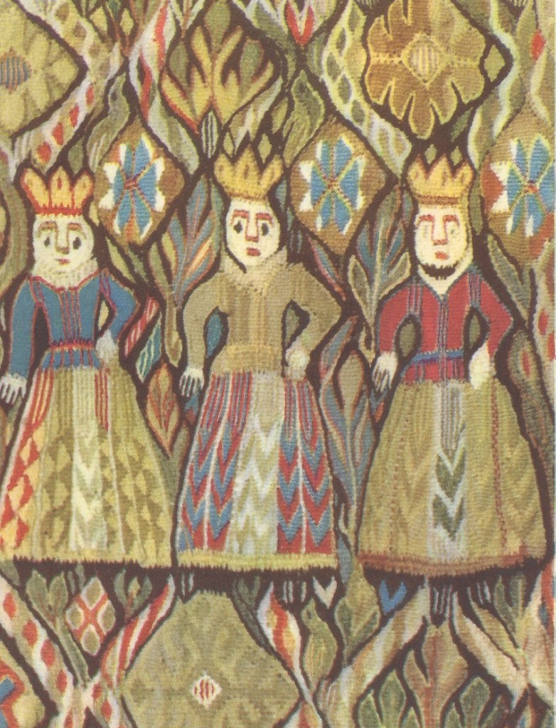 "Three ""Virgins"" from a West Norwegian tapestry, approximately 1700.  Private collection."